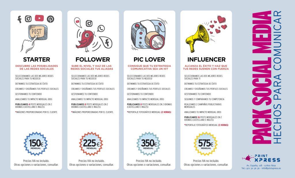 Descripción de los paquetes de Redes Sociales de Printxpress Ibiza